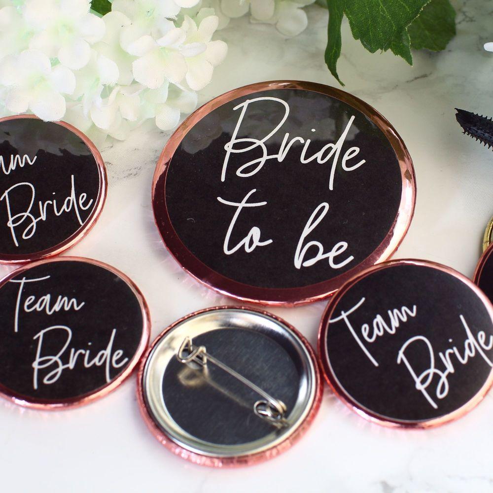 Badges - Team Bride - Pink & Gold