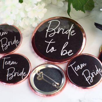 Badges - Team Bride - Black & Rose Gold