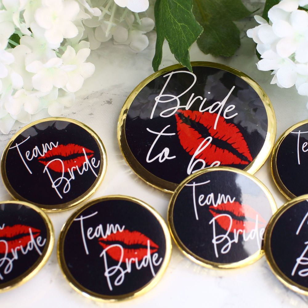 Badges - Team Bride - Pink & Gold
