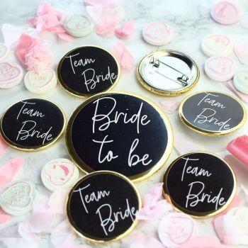 Badges - Team Bride - Black & Gold