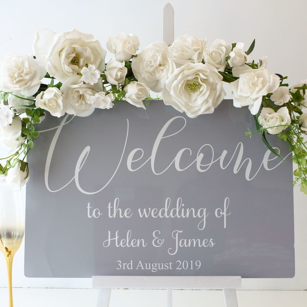 <!-- 001 -->The Dove Grey Collection - Easel Sign - Welcome sign
