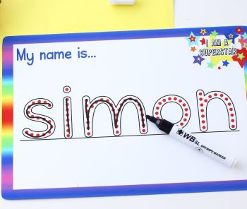 Dry erase writing panel - My name is...