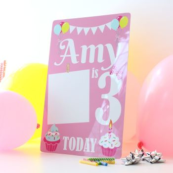 Birthday party sign - Pink