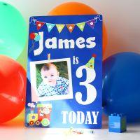 Birthday party sign - Blue