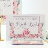 <!-- 174 -->Rose Collection - Guest Book & Sign (Grey)