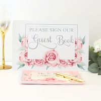 <!-- 173 -->Rose Collection - Guest Book & Sign (Pink)
