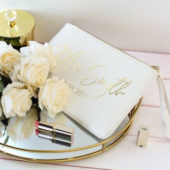 Personalised Saffiano clutch bag