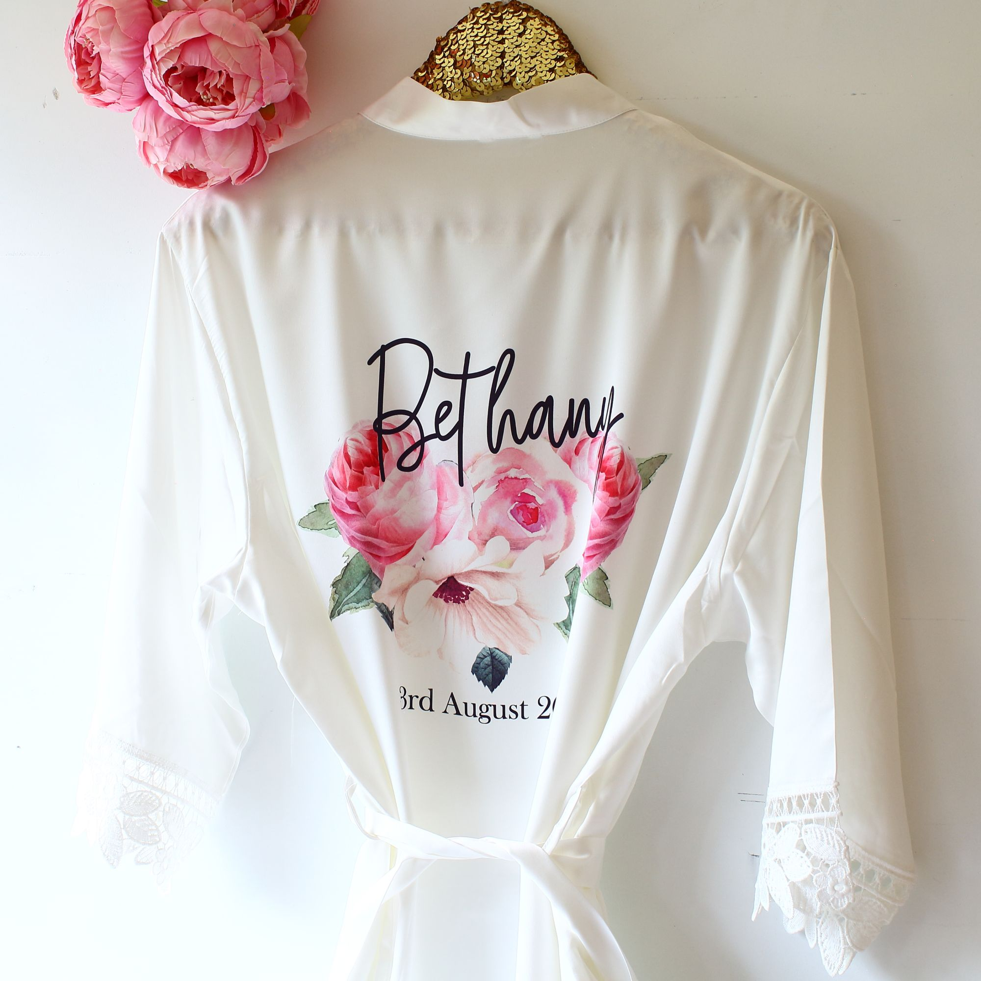 Personalised satin lace robe