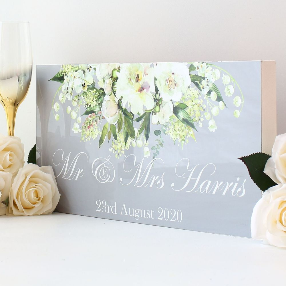 <!-- 165-->Top Table wedding sign - White floral