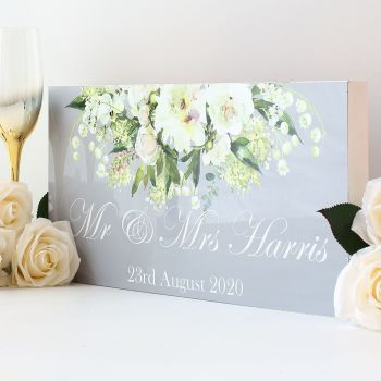 Top Table wedding sign - White floral