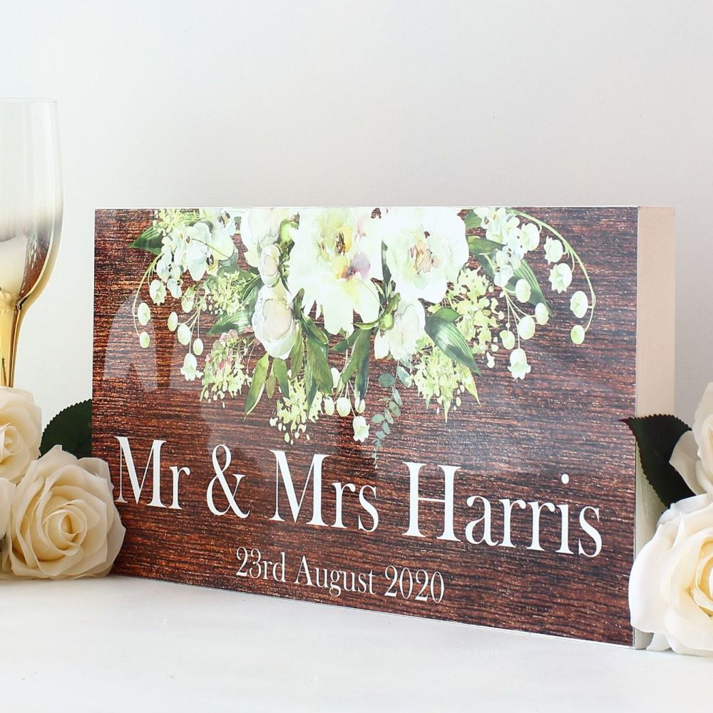 <!-- 164-->Top Table wedding sign - White floral (wood background)