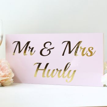 Top Table wedding sign - Gloss & Gold (12 colours)