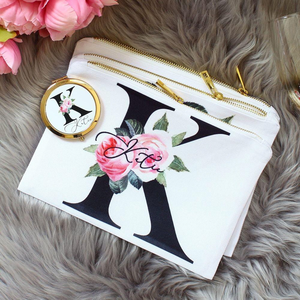 <!-- 074--> Makeup bag - Rose Garden Monogram