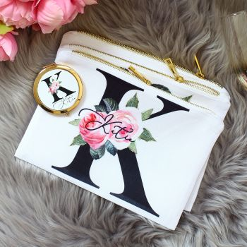 Makeup bag - Rose Garden Monogram