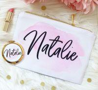 <!-- 073--> Makeup bag - Pink & Gold