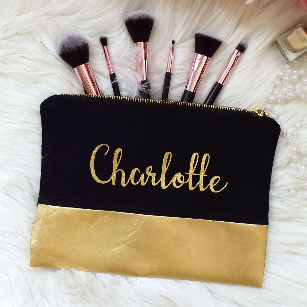 <!-- 071--> Makeup bag - Black and gold