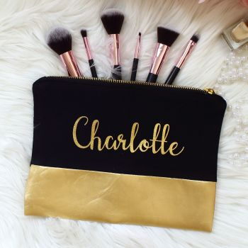Makeup bag - Black and gold