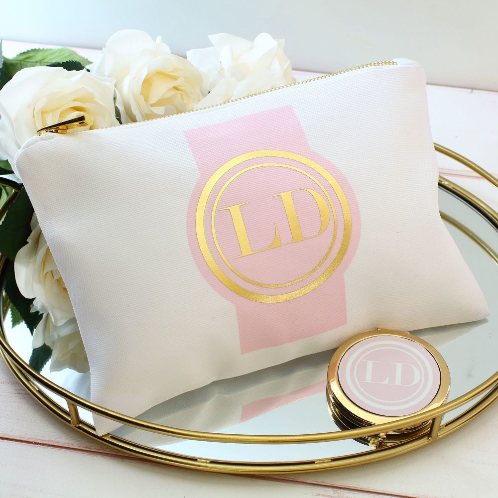 <!-- 069--> Makeup bag - Gold medallion (pink)