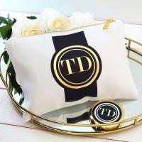 <!-- 068--> Makeup bag - Gold medallion (Black)