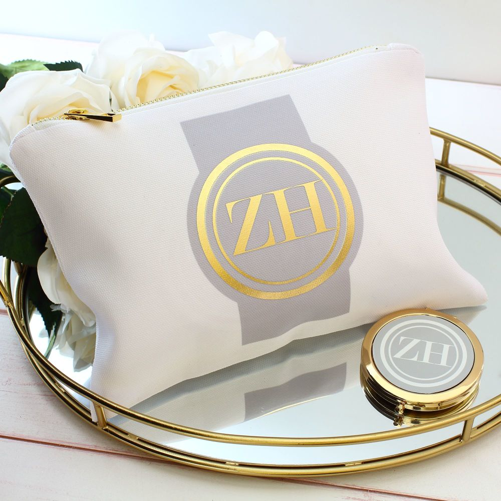 <!-- 067--> Makeup bag - Gold medallion (Grey)