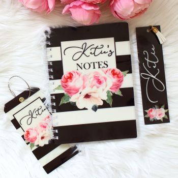 The Rose Garden Collection - Personalised notebook travel set (Black)