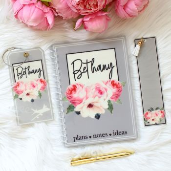 The Rose Garden Collection - Personalised notebook travel set (Grey)