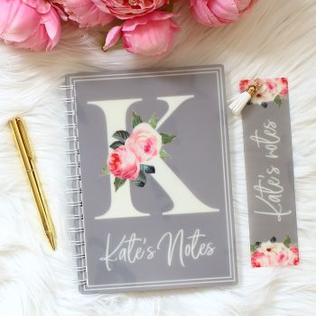 The Rose Garden Collection - Personalised notebook set (Grey)