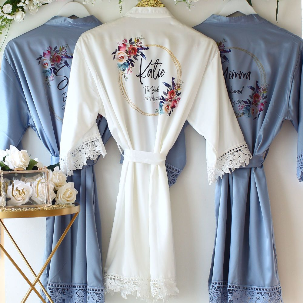 Personalised satin lace dressing gown