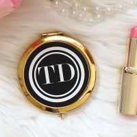 <!-- 081 --> Gold Compact mirror - Monogram black Gold or Rose-gold