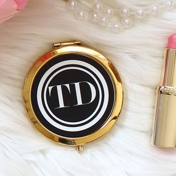 Gold Compact mirror - Monogram black