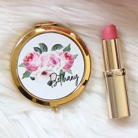 <!-- 081 --> Gold Compact mirror - Rose Garden