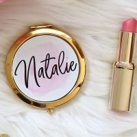 <!-- 081 --> Gold Compact mirror - Pink & Gold