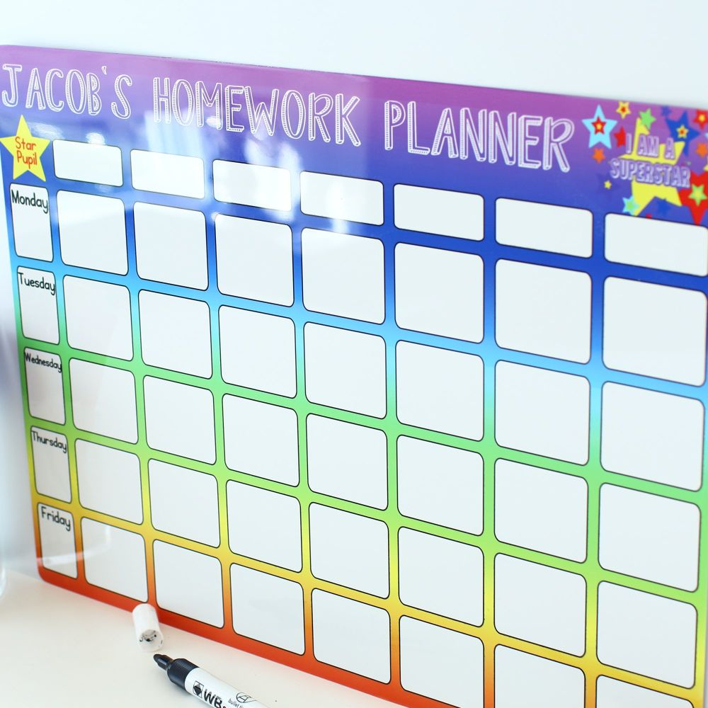 <!-- 005 -->Personalised weekly dryerase planner E13