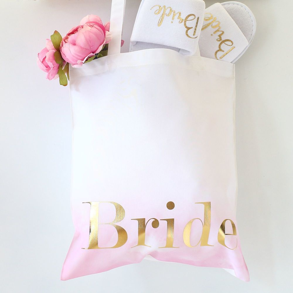 Ombre bridal tote bags