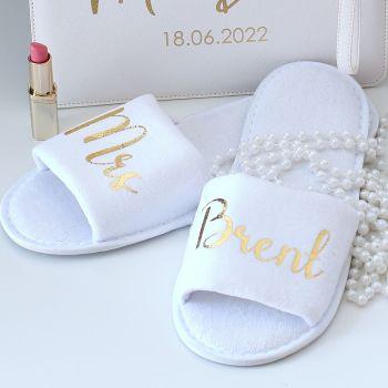 Personalised velvet slippers