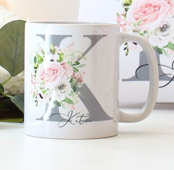 Personalised mug - Floral monogram (8 designs to choose)