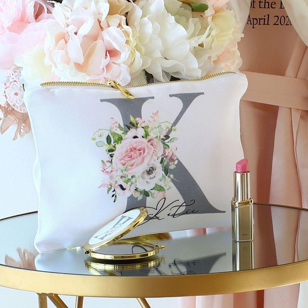 Floral monogram makeup bag