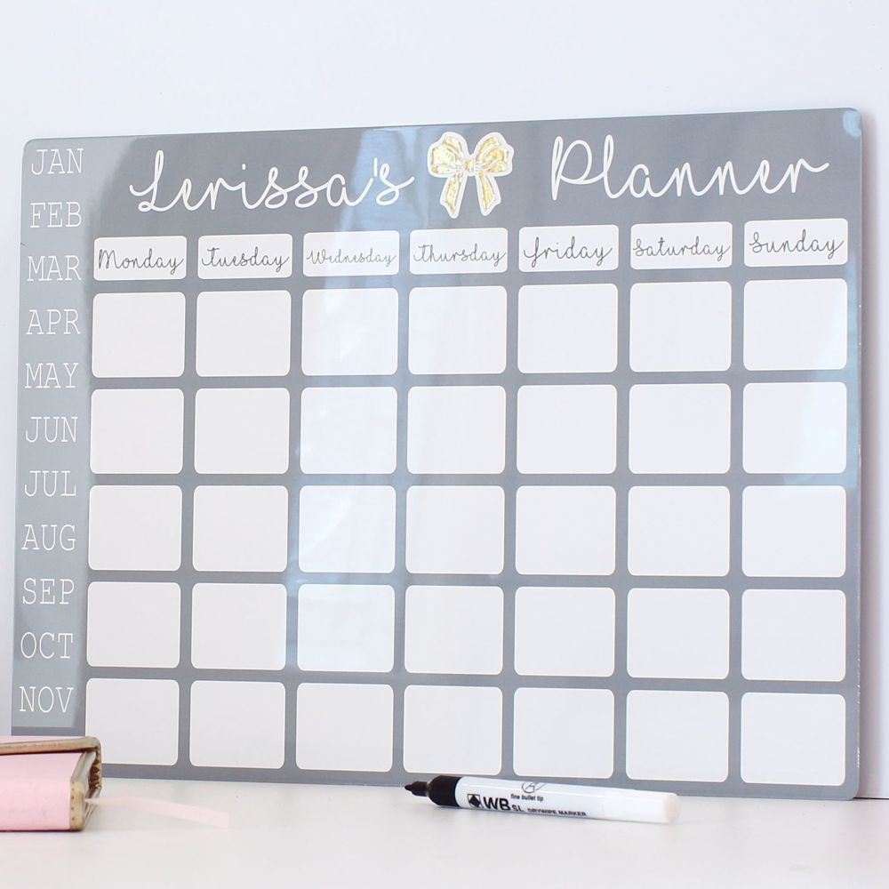 Personalised monthly dry erase planner - E14