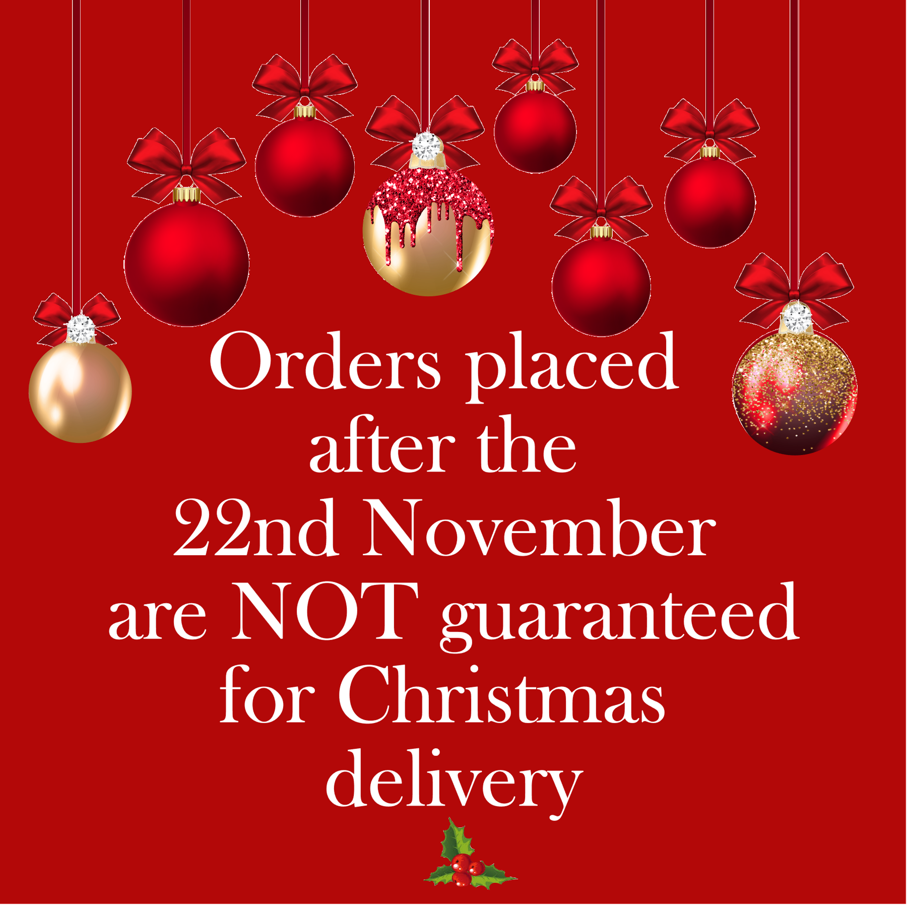Order early for Christmas gifts