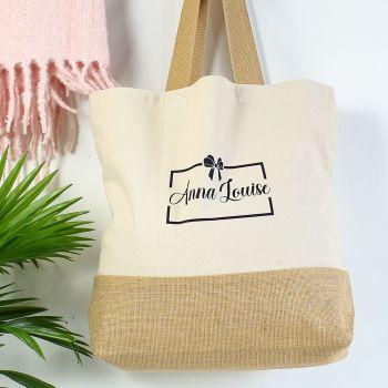Cotton canvas shopper - Name/bow