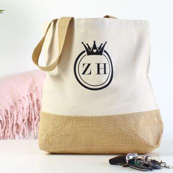 Cotton canvas shopper - Crown/initials