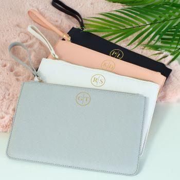 Monogrammed saffiano clutch bag