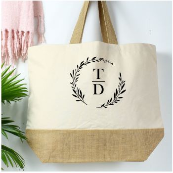 Cotton canvas shopper - Wreath/Initials