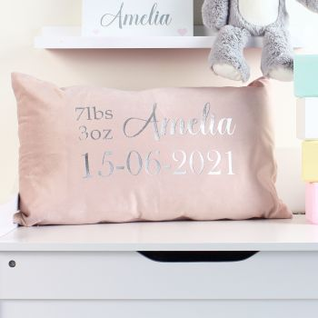 Velvet cushion - Birth Announcement (s)