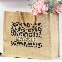 <!-- 078--> Jumbo Jute Shopper - Leopard print
