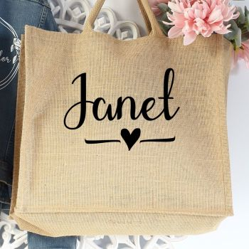 Jumbo Jute Shopper - name-heart (B)