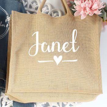 Jumbo Jute Shopper - name-heart (W)
