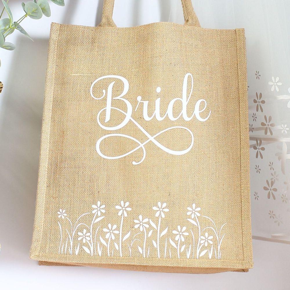 <!-- 076-->  Jute Tote bag - Bride