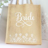 <!-- 076-->  Jute Tote bag - Bride (Daisies)