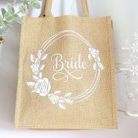 <!-- 076-->  Jute Tote bag - Bride (Rose wreath)